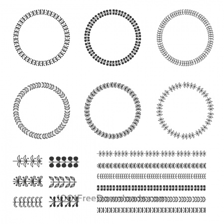 Vintage vector set of wreaths