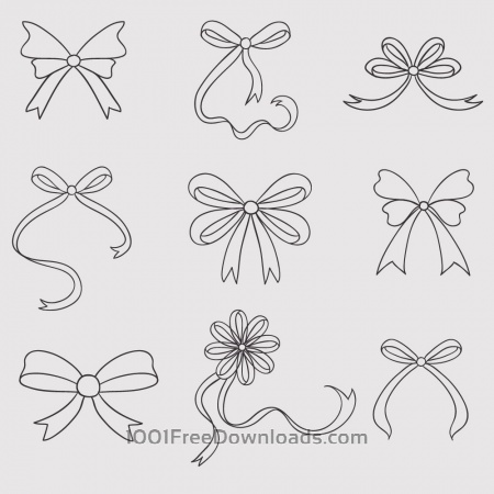 Vintage vector set of handdrawn bows