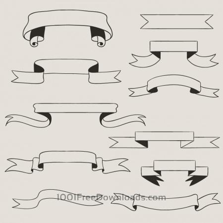 Free Vintage vector set of handdrawn ribbons