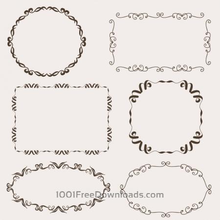 Vintage vector set of ornamental frames