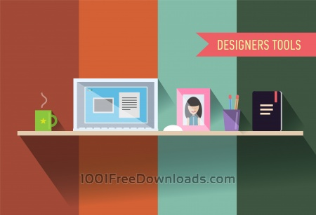 Designers table with tools. Vector illustration