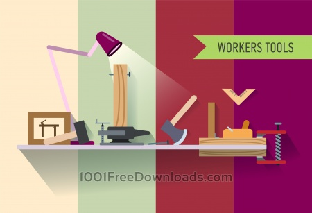 Tools objects on the table. Vector illustration for design