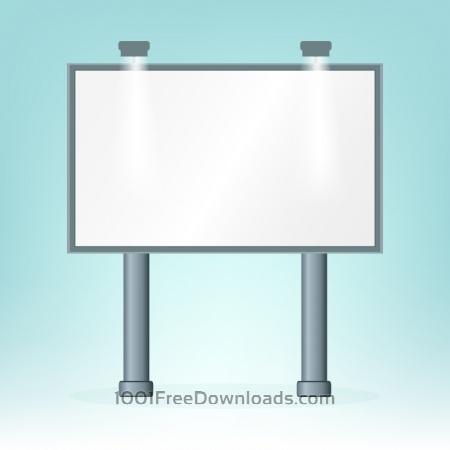 Blank billboard, on blue bacground, design