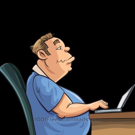 Fat man working on laptop
