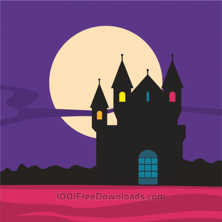 Mysterious castle silhouette with moon in the background