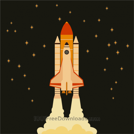 Space shuttle flying in space with stars on background