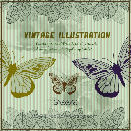 Vintage background with butterflies