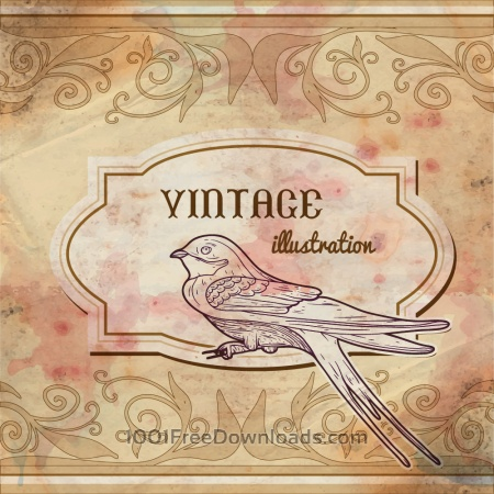 Vintage watercolor frame with swallow