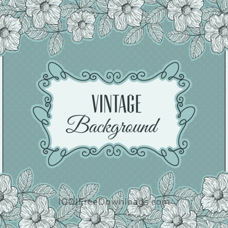 Vintage flowers with frame and typography
