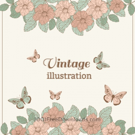 Vintage flower illustration with butterfly