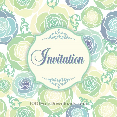 Invitation template with floral background