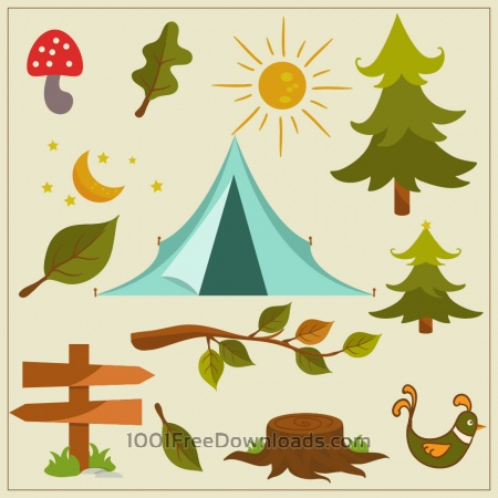 Free Nature camping vector elements