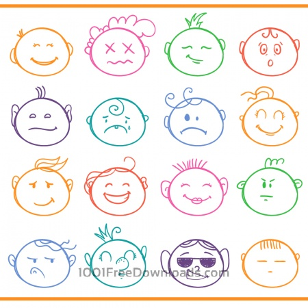 Face expressions vector set