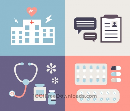 Medical objects for design. Vector illustrations