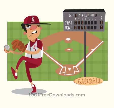 Baseball game characters and objects. Vector illustration