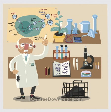 Chemical character and tubes illustration vector