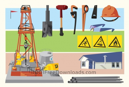 Oil objects landscape and equipment. Vector illustration