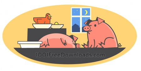 Characters farm pets vector illustration for design