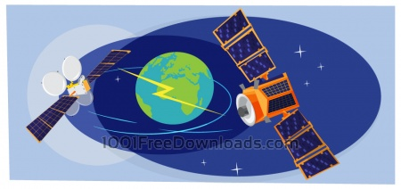 Collection of spaceships and planets, space vector illustration