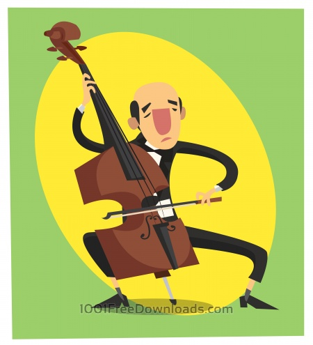 Music cartoon character vector illustration for design