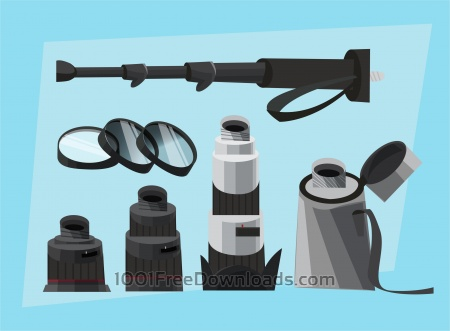 Photographer equipment at work. Vector illustration