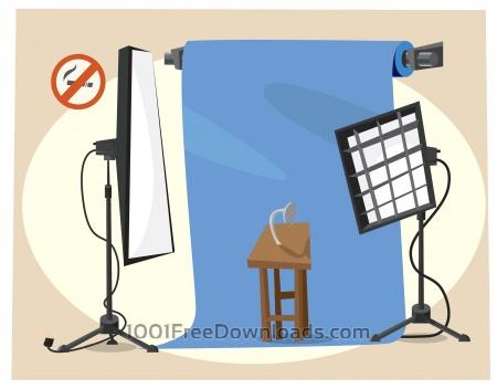 Photographer equipment at work. Vector illustration