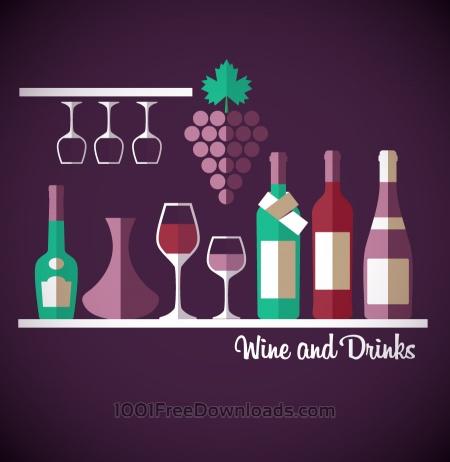 Wine abstract illustration. Flat style.