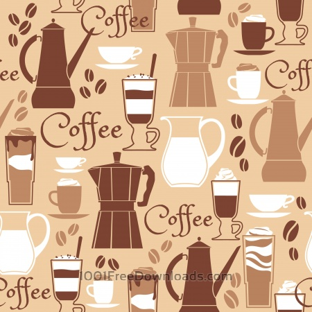 Vector illustration of coffee design elements. Seamless pattern