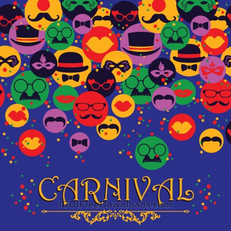 Free Celebration festive background with carnival icons and objects. Vector illustration