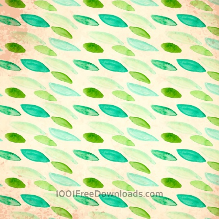 Watercolor vector pattern with leaves