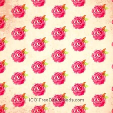 Watercolor vector pattern with rose