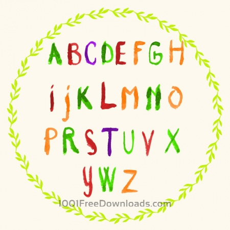 Watercolor vector frame with typography