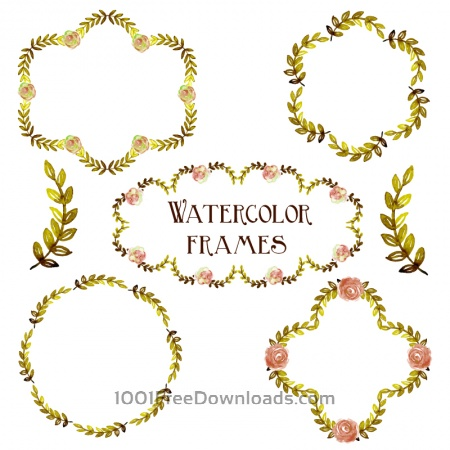Watercolor vector set with frames