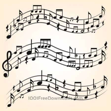 Free Music notes on staves