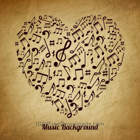 Heart made of musical notes