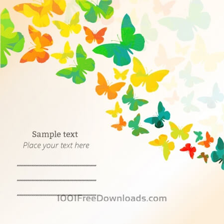 Spring illustration with butterflies