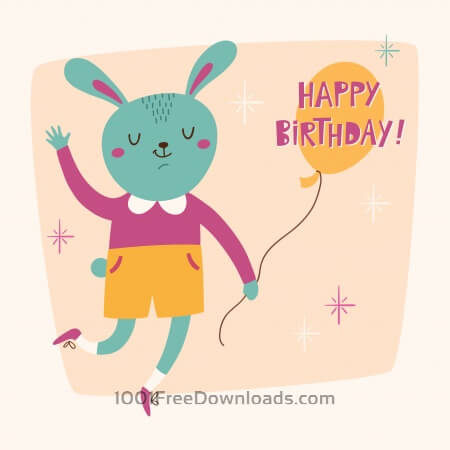Happy Birthday card with cute bunny