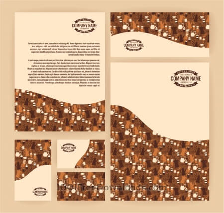 Set of business  templates for coffee shop. Vector background.