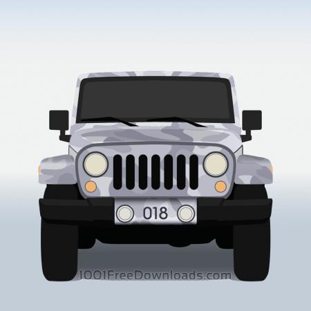 Vector illustration Military jeep