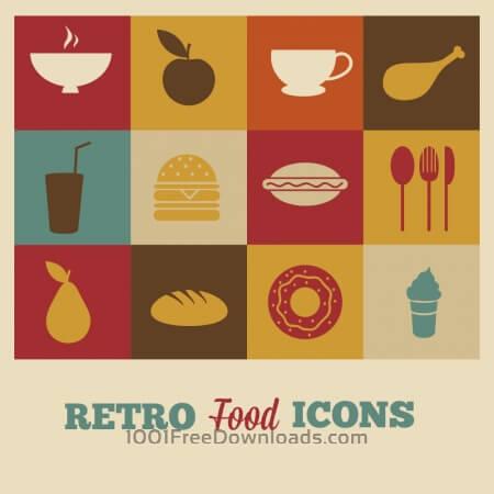 Free Set of retro food icons