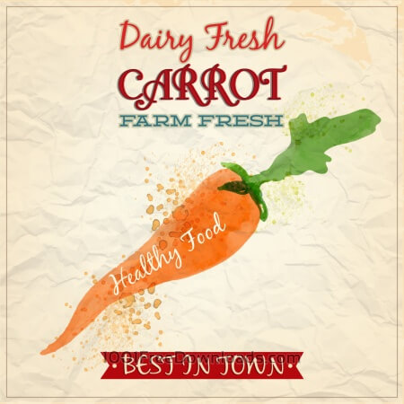 Vintage watercolor carrot with typography