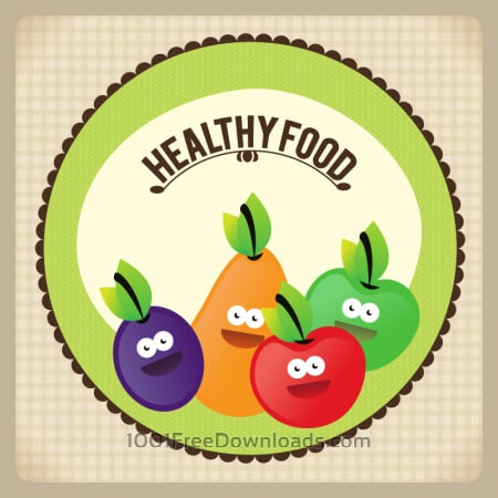 Healthy food illustration with fruits