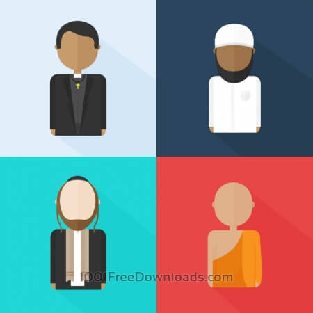Religious characters (Christian, Jew, Muslim and Buddhist)