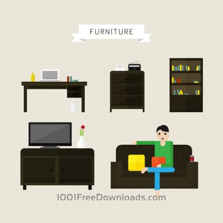 House and office furniture illustrations