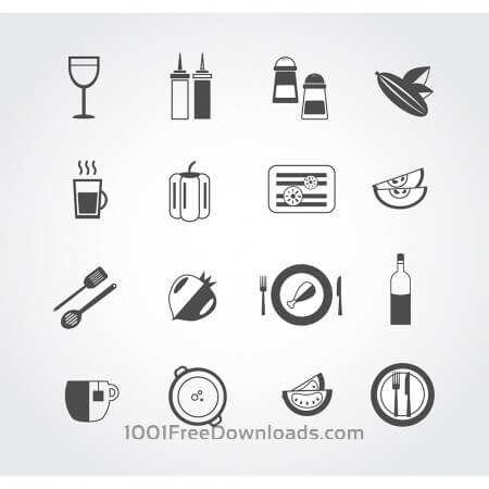 Food free vector mono color set. Icons for design