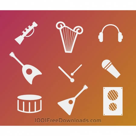 Vector free music instruments icons set for design