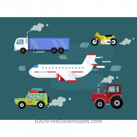 Vector set transport for free design. Cer, truck, airplane, bike