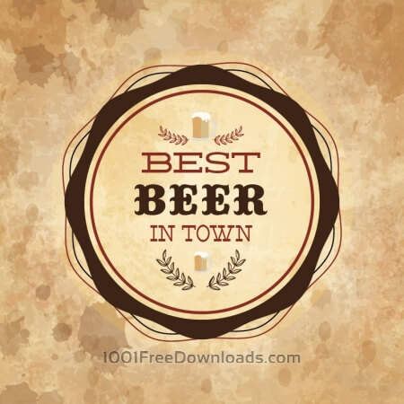 Retro styled label of beer on grunge paper background