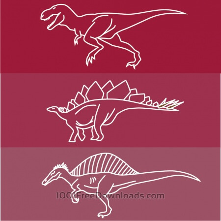 Dinosaur line drawing icons