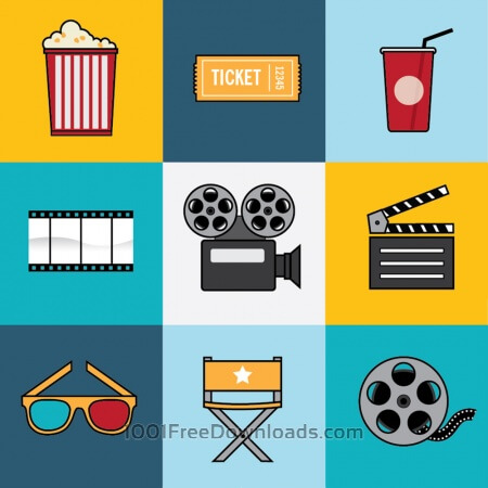 Movie and Film Industry Icon Set